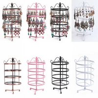 Wholesale earring rotating resale online - Dozzlor Four layer Round hole Wrought Iron Earring Holder Rotating Display Stand Necklace Bracelet Jewelry Display
