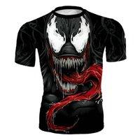 trajes de cosplay rápidos venda por atacado-Venom Calças Justas Roupas Camisa De Compressão 3D Impresso T-shirt Dos Homens de Manga Curta Traje Cosplay Quick Dry Fitness Tops Masculino
