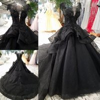 Wholesale black gothic wedding dresses for sale - 2019 New Arrival Luxury Black Wedding Dresses Gothic Court Vintage Bridal Gowns Princess Long Train Beaded Cap Sleeves Wedding Gowns