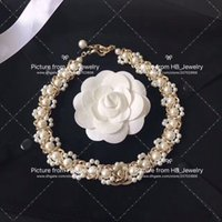 inci bilezik düğün takı toptan satış-Popüler moda lady tasarım için marka inci kolye bilezikler Kadınlar Parti Düğün Severler hediye KUTUSU Ile Gelin için Lüks Takı