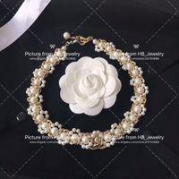 collares de perlas de la boda para las novias al por mayor-Popular marca de moda collar de perlas pulseras para dama Diseño Mujer Partido Amantes de la boda de regalo de joyería de lujo para la novia con la caja