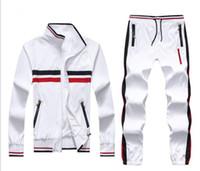ingrosso vestiti blu pieni bianchi-2019 HOT tuta sportiva da uomo con zip intera tuta sportiva bianca blu uomo felpa con cappuccio e tuta sportiva con cappuccio e pantalone tuta da uomo M - XXL