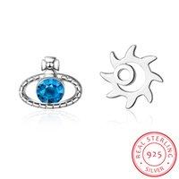 blaue geschenke für mädchen großhandel-Einfache asymmetrische hohle Sun Blue Planet 925 Sterling Silber Ohrring für Frauen Mädchen Geschenk Ohrringe Brincos de Prata