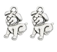 Wholesale dog charms for jewelry making for sale - Group buy 200Pcs alloy Animals Dog Antique silver Charms Pendant For necklace Jewelry Making findings DIY x17mm