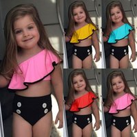trajes de baño de playa para niños al por mayor-Traje de baño para niños Summer GirlsSwimwear Inclinado hombro Lotus Leaf Edge Top Triángulo traje de baño Girls Split Beach