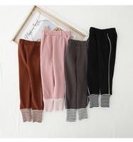 calça de outono leggings calças crianças venda por atacado-cintura 2019 Outono novas infantil ostenta calças casuais pés leggings meninos e meninas sólida calças de algodão de cor das crianças P013