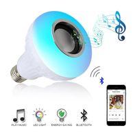 Wholesale music mini portable led speaker for sale - Group buy Bluetooth Wireless led speaker lead bulb W RGB Bulb E27 LED Lamp V V Smart Led Light Music Player Audio with Remote Control