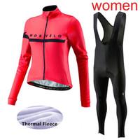 ingrosso maglietta lunga calda a maniche lunghe in ciclismo-2019 Morvelo Women Cycling Maglie tuta invernale termica in pile Bike Sportswear maniche lunghe Super caldo mtb Bicicletta Abbigliamento F60302