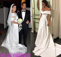 Wholesale cheap wedding dresses for sale - Simple Satin Beach Wedding Dresses Cheap Off The Shoulder Capped weep Train Beach Wedding Dress Bohemia Country Style Bridal Vestidos