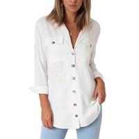 blusas de oficina xxl al por mayor-Blusa fija 2019 Brazo largo Blusa informal Tops Oficina Rotar Cuello inferior Botón Botón Tunica con bolsillos Xxl para mujer