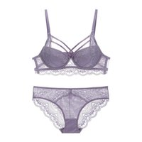 42007343f Sexy Lace Criss-Cross Bandage Push Up Bra and Panties Set Medium Padded Lacy  Underwear Women Beautiful Lingerie A B C Cup 2019