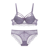 ingrosso bella biancheria intima sexy-Sexy Lace Criss-Cross Fasciatura Push Up Reggiseno e mutandine Set Medio imbottito Lacy Biancheria intima Donna Beautiful Lingerie A B C Cup 2019