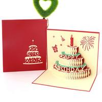 amor de mãe venda por atacado-Feliz Aniversário Bolo Postal com Envelope Handmade 3D Pop Up Cartões para Amante Mãe Amigo Presente
