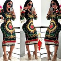 xxl vestidos para mulheres venda por atacado-Mulheres Designer de Vestidos de Estiramento Vestido de Festa Skinny Club Wear Lindo Multi-estilo Bodycon Floral Print Womens Roupas Tamanho S-XXL