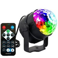 Wholesale crystal magic ball remote resale online - Edison2011 Mini RGB W Crystal Magic Ball Led Stage Lamp DJ KTV Disco Laser Light Party Lights Sound IR Remote Control Christmas Projector
