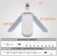 Wholesale adjustable led lighting pendants resale online - 95 V W E27 LED Bulb Super Bright Foldable Fan Blade Angle Adjustable Ceiling Lamp Home Energy Saving Lights CE RoHS