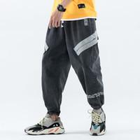 homem na moda venda por atacado-New Trendy Trecho Listras diagonais Calça Jeans Largas Macho Trousres Solto Harem Jeans Algodão dos homens confortáveis calças hiphop denim
