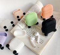 lindo iphone bluetooth al por mayor-Para AirPods Case Fashion Cute Suitcase Trunk Case para Apple Airpods 2 Lage diseño Bluetooth inalámbrico para auriculares proteger la cubierta