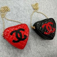 Wholesale patent leather bag girls resale online - Newest Kids Designer Bags Korean Girls Mini Princess Purses Fashion Chain Cross body Bags Lovely Patent Leather Heart Shape Bags Girls Gifts