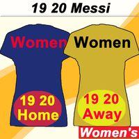 senhoras futebol futebol venda por atacado-19 20 barcelona MESSI Mulheres Camisolas De Futebol SUAREZ PIQUE A. INIESTA Casa Azul Fora Amarelo Camisas De Futebol RAKITIC RAFINHA Mangas Curtas Senhora Uniformes