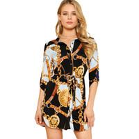 design de roupas femininas venda por atacado-Primavera Outono New Designer Vestido camisa Mulheres Feminino Casual Shirt Design Corrente impresso Mini Vestuário Vestidos