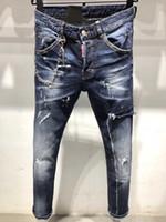 los hombres cortan los pantalones vaqueros al por mayor-19SS diseño vaqueros lavados ligera delgada del verano de los hombres famosos de la marca estirar los pantalones vaqueros de mezclilla pantalones de corte bikini jeans ajustados rectas 28-38