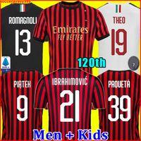 futbol formaları 99 toptan satış-IBRAHIMOVIC AC milan 19 20 futbol forması 2019 2020 120. Yıldönümü 120 yıl PIATEK futbol gömlek PAQUETA THEUS SUSO REBIC camisa de futebol ROMAGNOL maillot erkekler + çocuklar kiti