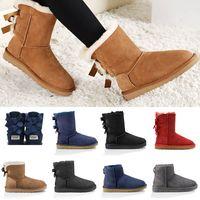 çocuklar diz botları toptan satış-2019 UGG Kar Kış kürk Kadınlar Avustralya Klasik diz yarım Çizmeler Yay Ayak Bileği çizmeler Siyah Gri kestane lacivert kırmızı Womens çocuklar kız ayakkabı luxury brand boots