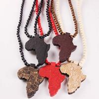 kolye ahşap boncuklar toptan satış-Afrika Hip Hop Ahşap Haritası Kolye Kolye Ahşap boncuk Kadın Erkek Hiphop Takı Için boncuklu zincirler Hediye