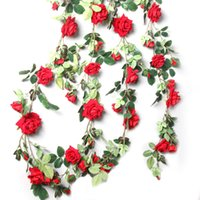 Wholesale arch decorations resale online - Ivy Vine Artificial Flowers Wedding Decorations Silk Rose Arch Decor With Green Leaves Hanging Wall Garland With Green Leaves