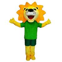 sarı aslan maskot kostüm toptan satış-2019 Yüksek kaliteli aslan maskot kostüm karnaval parti Fantezi peluş sarı aslan maskot yetişkin boyutu yürüyüş.