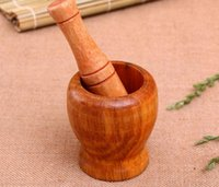 Wholesale Home Kitchen Hand Manual Wood Garlic Ginger Mortar and Pestle Pugging Mill Grinding Bowl Masher Grinder Mixing Device SN1039