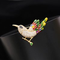 Wholesale cz brooches pins resale online - New Fashion Jewelry Cubic Zircon CZ Lovely Bird Design Enamel Feather Apparel Brooch Pin Collar For Women S467