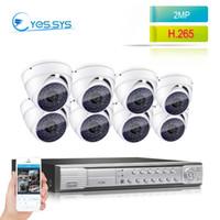 kubbe cctv 8ch toptan satış-Eyessys 8CH 4.0MP NVR 8) 2.0MP 1080 P Gece Görüş IP Kamera CCTV POE Sistemi 1920 * 1080 Dome Gözetim Kitleri Ev Güvenlik