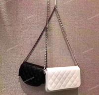 Wholesale over shoulder bag nylon for sale - Import Lambskin Side packs Black White Crossbody pieces Fashion Women Chain Woc Flap Bag Women Shoulder Messenger Bags