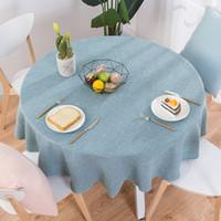boda verde té al por mayor-Paño de la mesa del banquete de boda redondo cubierta de tabla de algodón mantel de lino té nórdico manteles de café hogar cocina decoración