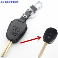 Wholesale remote case covers resale online - FLYBETTER Genuine Leather Button Transponder Remote Key Case Cover For Toyota Innova Fortuner Vios Wish Prado Car Styling L369
