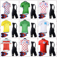 Wholesale tour france cycling jerseys men for sale - Group buy TOUR DE FRANCE team Mens Short Sleeves Bike Clothes Cycling jersey bib shorts sets Outdoor Bicycle Riding sportswear Q82611