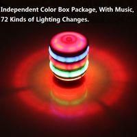 ingrosso giocattolo di filatura leggera-7 Colori Fidget Spinner Giocattoli per bambini Musical Gyro Flash LED Light Colorato Spinning Imitazione Legno Gyro Glitter Music Light L161
