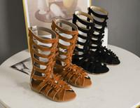 полые туфли оптовых-Девушки римские сандалии дети Луки полые ткать плоские сандалии обувь дети высокой загрузки Campagus сапоги девушки Гладиатор сандалии обувь 26-35 6103