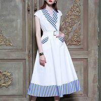 ingrosso vestito sexy dalla moda coreana-Vestiti a strisce patchwork per le donne senza maniche vita alta Midi Dress primavera femminile 2019 vestiti coreano di moda