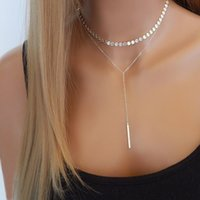 Wholesale bar bijoux resale online - Simple Women Bar Coin Choker Necklace Silver Gold Chain Chocker Neck Jewelry collana Bijoux Femme Joyas mujer Collier ras du cou