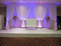 weiße seidenvorhänge großhandel-Ramadan Dekorationen 3 * 6m (10ft * 20ft) silk weiß Hochzeit Vorhang Kulissen mit weißen draps für Hochzeit Baby Shower Party decortaions