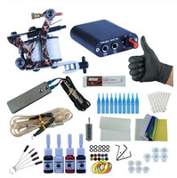 Wholesale tattoo beginner resale online - New Complete Tattoo Machine Kit Set Coils Guns Colors Black Pigment Sets Power Tattoo Beginner Grips Kits Permanent Makeup