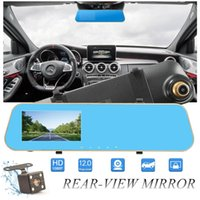 """2Ch 4.3"""" 1080P full HD car DVR digital mirror camcorder vehicle driving recorder anti-glare rearview parking grid G-sensor cycle recording"""