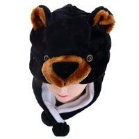 ingrosso beanie portano i bambini-DOUBCHOW Unisex Adulti Teenages Bambini Cartoon Animal Hat Carino Black Bear peluche Inverno caldo Cap Ragazzi Ragazze Donne Cosplay Beanie