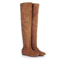 модные женские длинные сапоги оптовых-Women Boots Autumn Winter Ladies Fashion Flat Bottom Boots Shoes Over The Knee Thigh High Suede Long Brand Designer