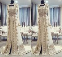 vestido dourado dubai kaftan venda por atacado-Marroquino Caftan Kaftan Vestidos de Noite Dubai Abaya Árabe Mangas Compridas Incrível Bordado de Ouro Quadrado-Pescoço Ocasião Prom Formal Vestidos