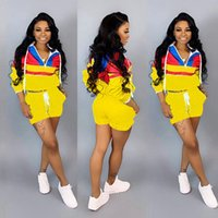 Wholesale cycling shirt yellow for sale - Group buy Brand Designer women shorts tracksuit long sleeve hooded shirt piece set outfits sportswear summer clothes Embroidery sports suit
