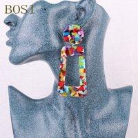 ingrosso nuovi orecchini lunghi-2019 Orecchini acrilici per le donne Boho Multicolor Resina Geometric Big Long Earings Trendy Statement Party Handmade Luxury Nuovo